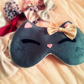 Cat eye sleep mask - Cute kawaii kitty sleep mask - Plush cat - Pink bow cat soft eye pillow - Natural SUPER SOFT kids adults eye mask