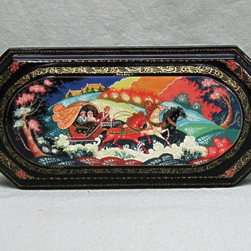 Russian Folk Art Painting Lacquer Box Mstera Troika Sleigh Scene