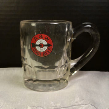 1950s A&W Mug Vintage Bull's Eye Logo AW Root Beer Glass Mug Arrow Ice Cold Root Beer Heavy Thick Glass Mug Collectible Root Beer Mug