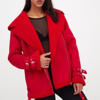 Red Faux Suede Aviator Jacket