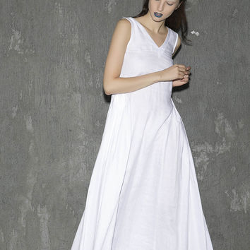 White linen dress maxi dress women dress long prom dress(1304)