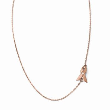 Sterling Silver Rose Gold-Plated Aware Ribbon CZ 1in ext. Necklace
