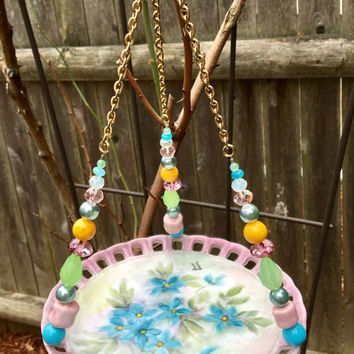 Ceramic Dish Bird Feeder, Garden Yard Accent, Recycled Dish Art, Hanging Planter, Candle Holder, Repurposed Vintage Plate, Upcycled Glass