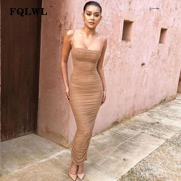 FQLWL Sexy Mesh Women Dress Summer 2018 Strapless Backless Zipper Split Draped Maxi Dress Club Party Wrap Long Dresses Vestiods