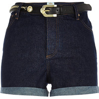 River Island Womens Dark wash belted high waisted denim shorts