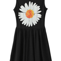 ROMWE Sunflower Print Pleated Black Dress