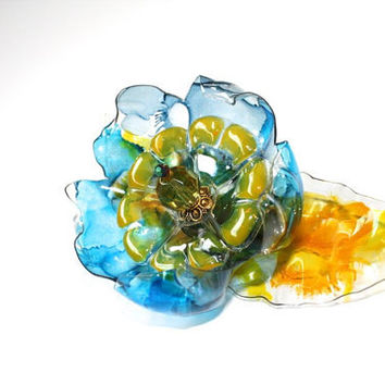 Vincent Van Gogh, The Starry Night Flower Brooch, Blue Yellow, Recycled Plastic Bottle,  scarf shawl refrigerator magnet, upcycled art