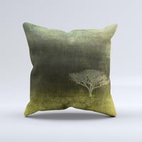 Deep Green Tree Pastel Painting ink-Fuzed Decorative Throw Pillow