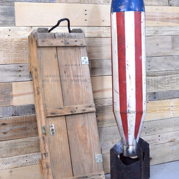 LARGE Vintage Wood Ammo Crate, Vintage Ammunition Crate, Wood Ammo Box, Howitzer Ammo Crate