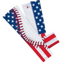 USA Flag Baseball Lace Compression Arm Sleeve -S/M 2-Pack