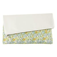 Yellow Rose Leather & Print Clutch