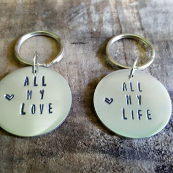 Couple Keychain Set. All My Life. All My Love. Celebrate Your Relationship With This beautiful Set. Up To Thirteen Character Customization
