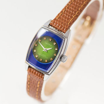 Modern women's watch Seagull, rare design lady watch, navy green shades lady's watch 80s, rectangular watch small, premium leather strap new