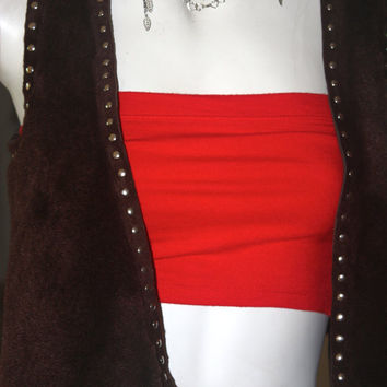 Sheep wool leather vest with metal studs