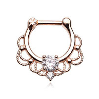 316L, 16GA, Rose Gold Turan Sparkle Septum Clicker Ring