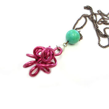 Long Aqua Fuchsia Necklace Abstract Wire Pendant Hot Pink Mint Funky Modern Jewelry