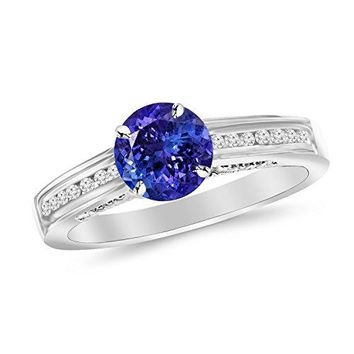 CERTIFIED | Channel Set Round Diamond Engagement Ring with a 1 Carat Tanzanite AAA Heirloom Center Stone (Platinum, Yellow, White, Rose)