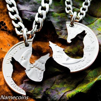 Wolf Animal Relationship Necklaces by Namecoins