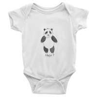 Panda Bear Hugs Infant Baby One Piece Outfit - Modern art hipster baby clothes