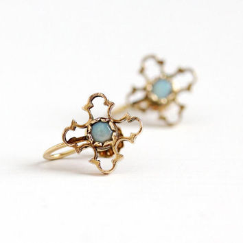 Vintage 14k Rosy Yellow Gold Opal Screw Back Earrings - Retro 1940s Maltese Cross Motif Colorful Gem Clip On October Birthstone Fine Jewelry