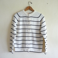 off white and black striped knit cardigan // by thelittlemarket
