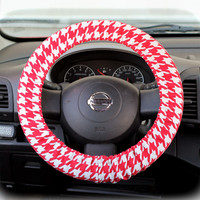 Steering-wheel-cover-wheel-car-accessories-Big-Red-Houndstooth-Steering-Wheel-Cover