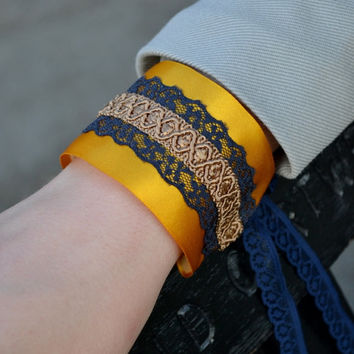 Embellished cuff bracelet, lace and satin ribbon, Great Gatsy, flapper 1920s