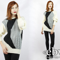 Vintage 80s Graphic Print Oversized Sweater S M Vintage Sweater Chunky Knit Vintage Jumper Oversized Knit