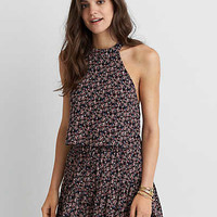 AEO Floral Halter Top, Black