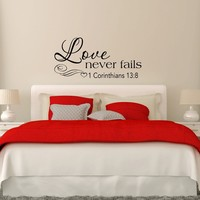Love Never Fails 1 Corinthians 13:8 Wall Decal Bedroom Decor Scripture Quote Vinyl Lettering Love Wedding Gift Q290