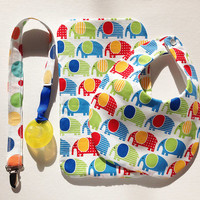 Rainbow Elephant Burp Cloth, Bib and Pacifier Clip Set, Elephant Burp Cloth , Bib, Pacifier Clip, Elephant, Baby/Toddler