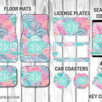 Oh Shello Inspired by Lilly Pulitzer Car Mat /Plate & Frame / Seat belt cover / Key Chain / Car Coaster / Car Accessory Gift  Set
