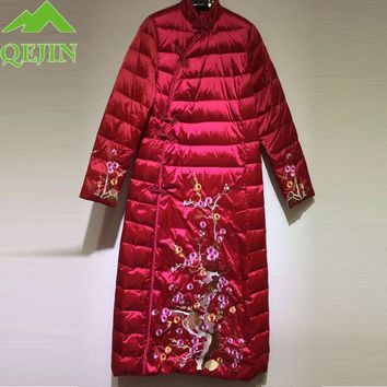 Embroidery flower winter jacket for women coat 90 white duck down parkas thick female coats warm down outerwear lady long style