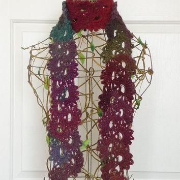 Wildflower Queen Anne's Lace Scarf, Victorian Inspired Lace Scarf, Winter Accessory, Handmade Crochet, CR1036 VLL Designs