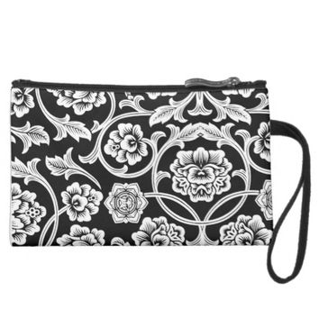 FLOWER DESIGN SUEDED MINI CLUTCH