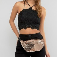 ASOS Metallic Sequin Fanny Pack at asos.com