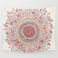 Sunflower Mandala Wall Tapestry by Janet Broxon