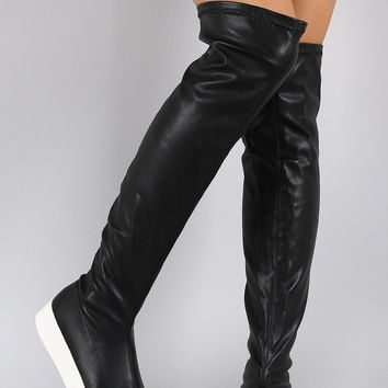 Cap Toe Flat Thigh High Boot