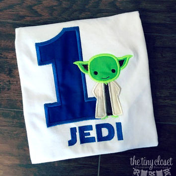 Personalized Star Wars Yoda Birthday Design - Solid Navy