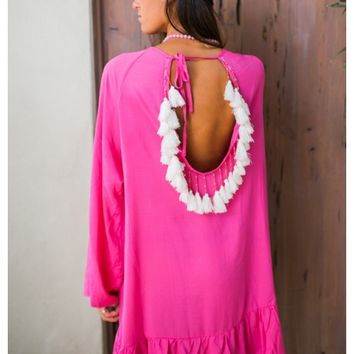 Pink cover up with scoop back and tassle details | Tiffany | escloset.com