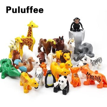 Animals Zoo Horse Bear Monkey Accessory Big Particles Building Blocks BABY DIY Toys Set Bricks Compatible with Duplo Child Gifts