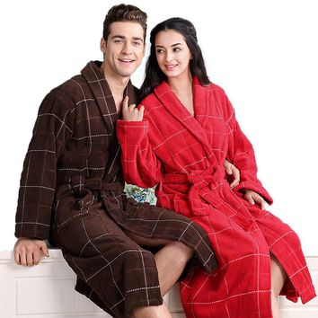 Cotton bathrobe men women sleepwear nightgown for girls blanket towel thickening long soft bathrobe autumn winter