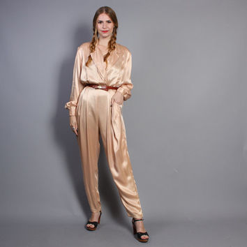 80s Nude SATIN JUMPSUIT / Tailored Pastel Romper, s-m