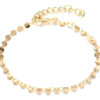 ONETOW Fashion jewelry anklet personality simple retro alloy round sequined bracelet