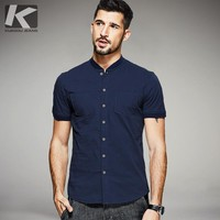 KUEGOU 2017 Summer Mens Casual Shirts Pockets Blue Color Brand Clothing Man's Short Sleeve Clothes Male Wear Slim Fit Tops 0812