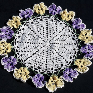 "Delightful Pansy Doily,Vintage Handmade Doily, Crocheted Doily, 11"" Round Doily, Cottage Chic Decor, Flower Centerpiece, Vintage Linens"