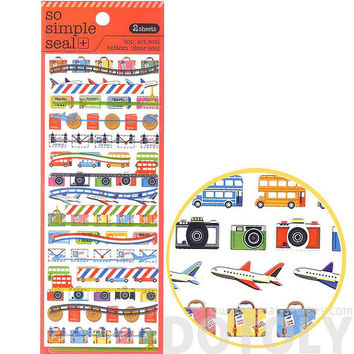 Airplanes Cameras Tickets Luggage Stickers | 2 Sheets | Cute Travel Themed Scrapbook Decorating Supplies