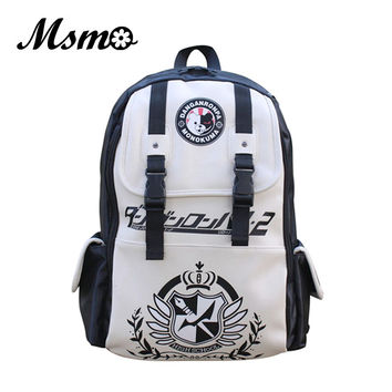 MSMO Dangan Ronpa danganronpa Monokuma Anime Cosplay PU Shoulder Backpack Kid's Bag Men and Women Travel Backpacks