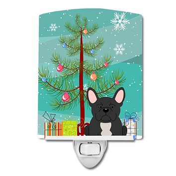 Merry Christmas Tree French Bulldog Black Ceramic Night Light BB4139CNL