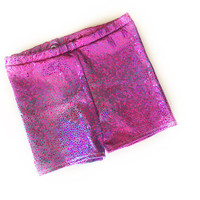 Dinosaur Shorts - dino scale shorties- holographic shorts- baby bummies- toddler shorts - kids- pink and blue metallic shorts- sparkly short
